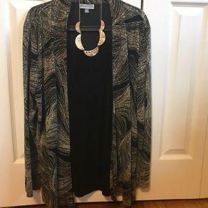 XL Black w/Gold Swirl Jacket w/Black Camisole